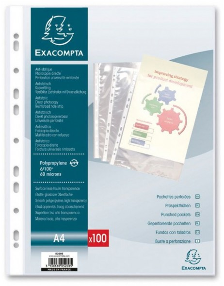 Sheet protectors A4 PP smooth 60µ 100 pieces