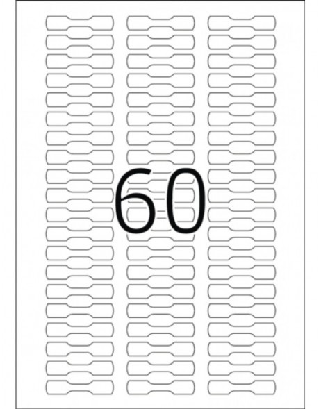 Jewellery labels white opaque 49x10 A4 1500 pcs.