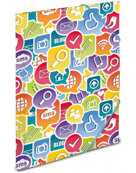 Elasticated folder A3 Social Icons PP