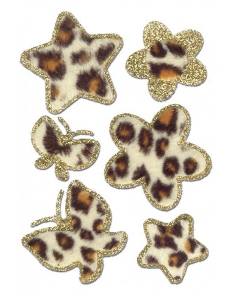 Butterflies, flowers, stars stickers - Leopard-Fleece