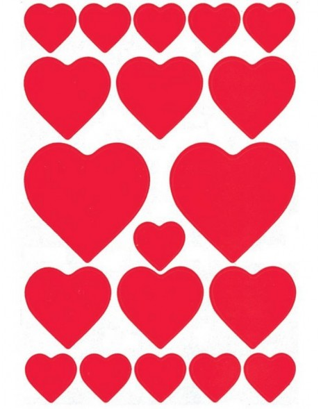 DECOR stickers hearts red 3 sheets