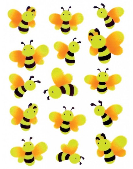 Neon stickers FUNNY BEE - 1 sheet