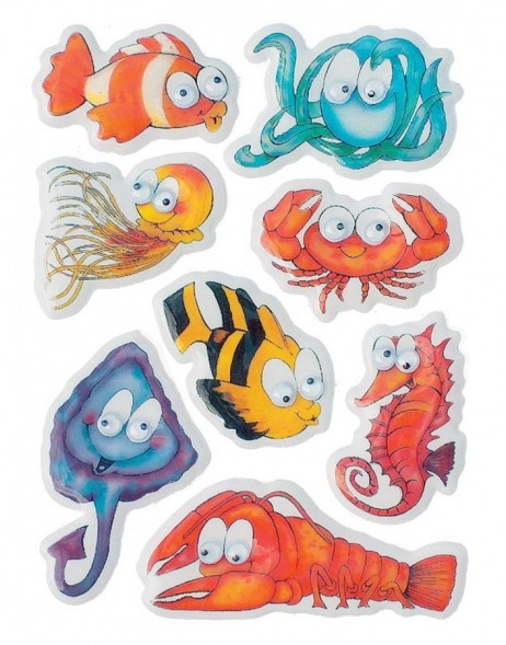 decorative labels Sea Animals - moving eyes