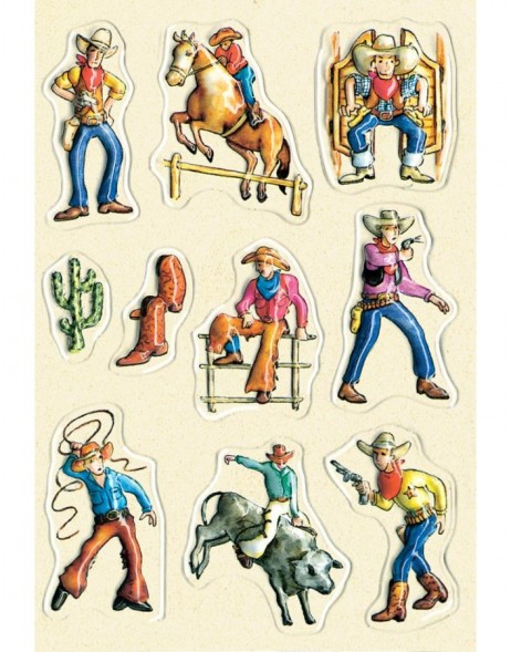 decorative labels Cowboys - embossed