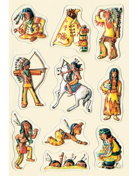decorative labels Indians - embossed