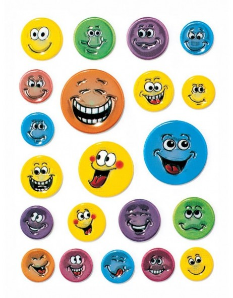 decorative labels Smileys - embossed