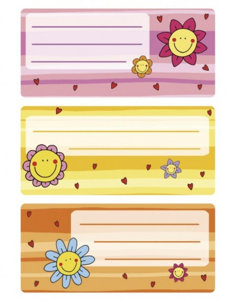 Book labels  76x35 mm flower faces 3 sheets