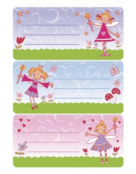 Book labels 76x35 mm princess  3 sheets