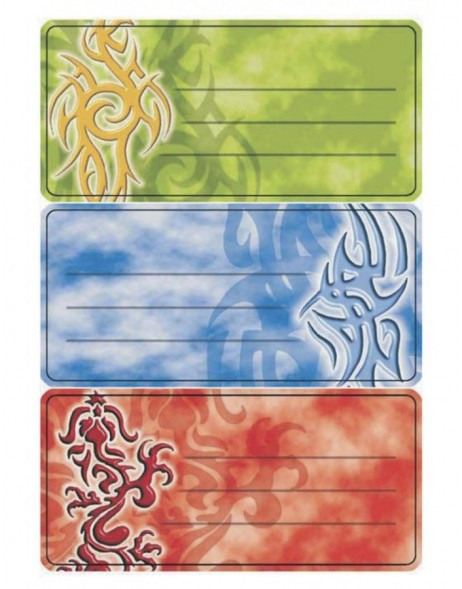 Book labels 76x35 mm tribals 3 sheets