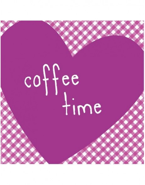 Servietten 25x25 Herz Coffee Time