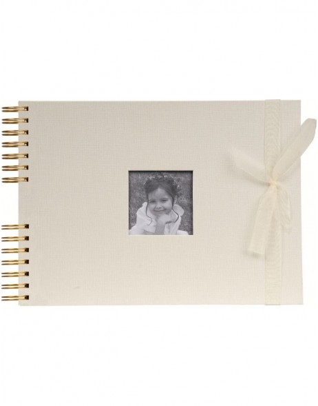 Organza photo album spiral bound in ivory