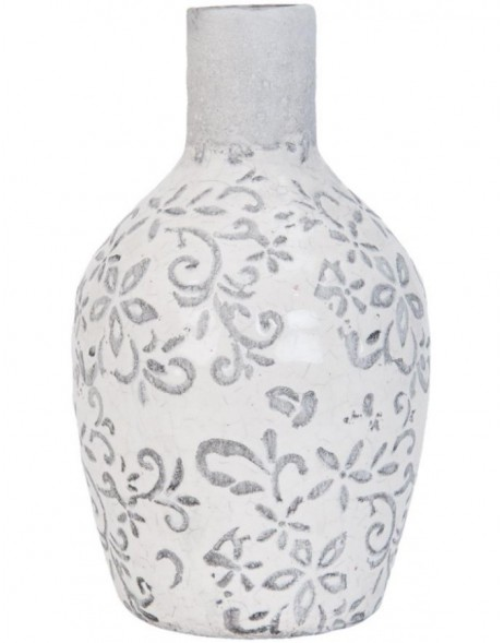 Stone bottle 6TE0079 white � 9x18 cm