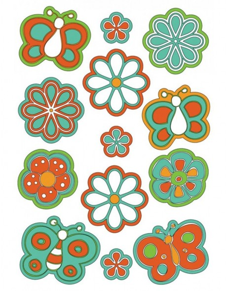 Stickers puffy - flowers & butterflies