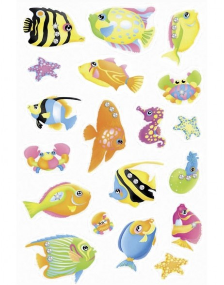 Decorative stickers MAGIC fish, jewel 1 sheet