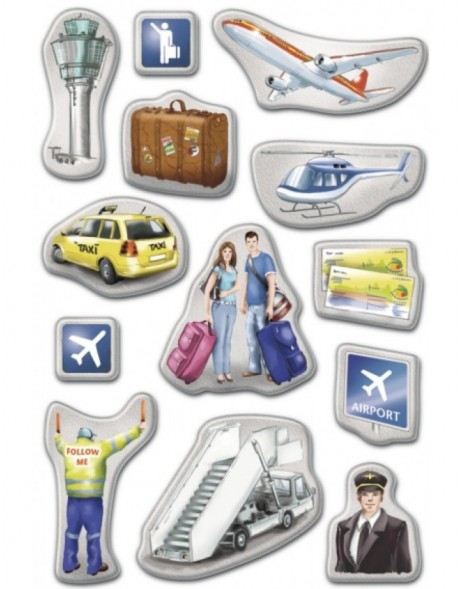 Decorative stickers MAGIC Airport puffy 1 sheet