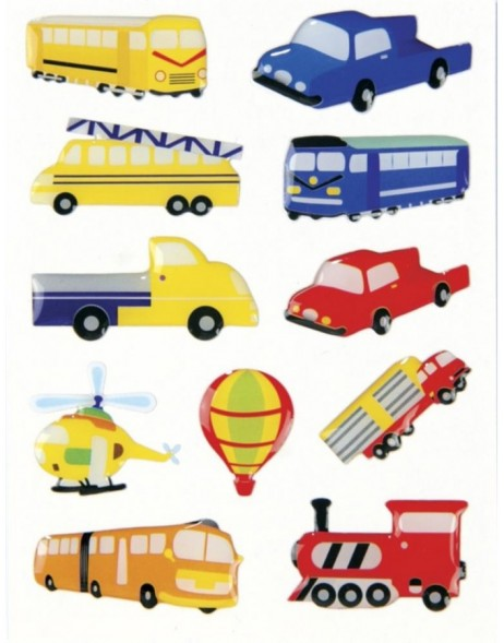 Decorative labels MAGIC big vehicles, stone 1sh.