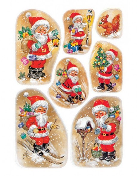 DECOR stickers Christmas Santa Claus in snow paper 3 sheets