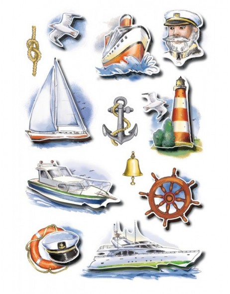 Stickers maritime 3D paper shiny