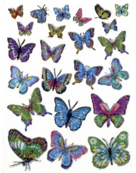 Decorative labels MAGIC butterflies crystal 1 sh.