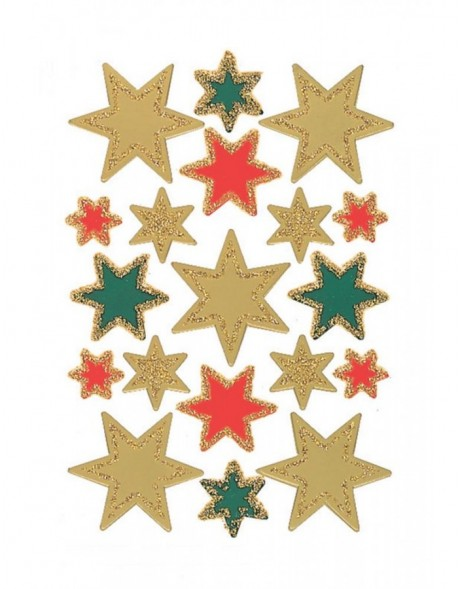 DECOR stickers stars gold foil glittery 3 sheets