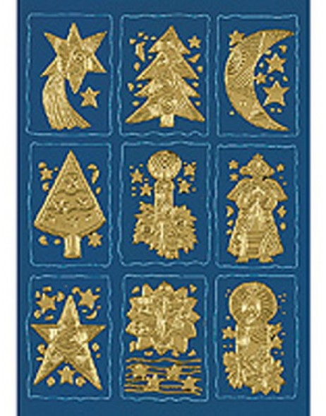 DECOR stickers Christmas symbols gold engraved 1 sheet