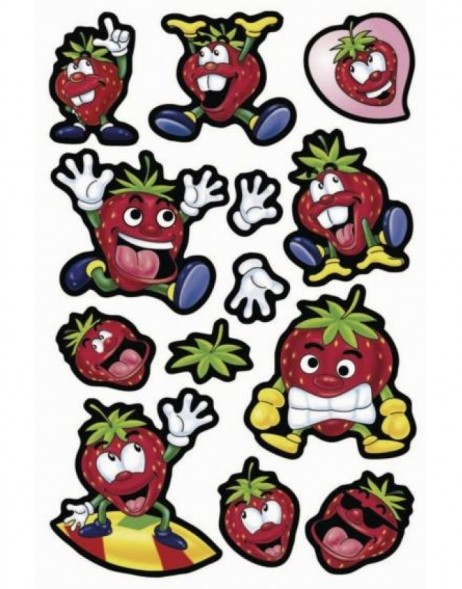 Decorative labels MAGIC Funny Strawberries Waggle Eyes 1 sh.