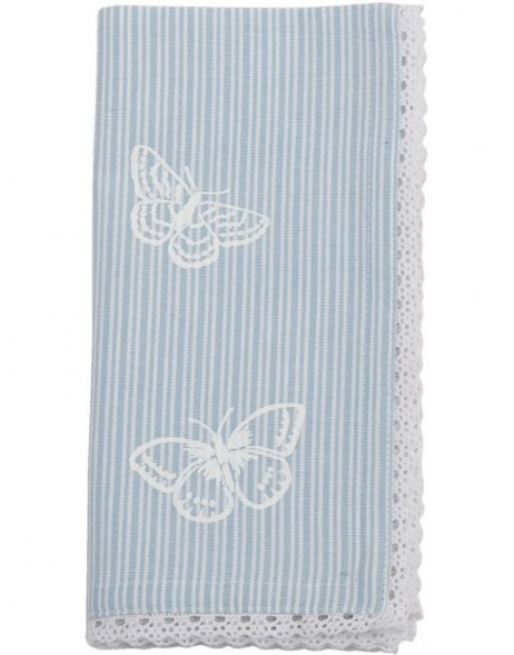 Stoff-Servietten Stripes and Butterflies blau 40x40 cm