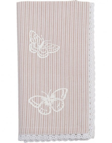 Stoff-Servietten Stripes and Butterflies rosa 40x40 cm