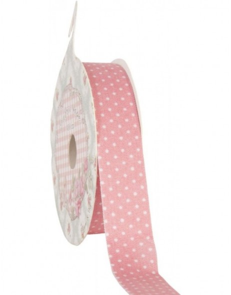 decoration tape 15mm x 500 cm - pink/white dots