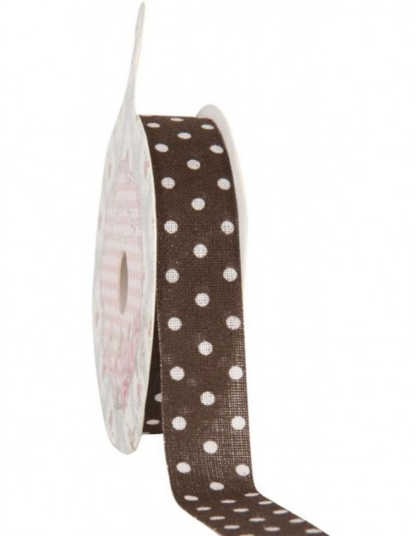 decoration tape 15mm x 500 cm - brown/white dots