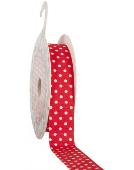decoration tape 15mm x 500 cm - red/white dots
