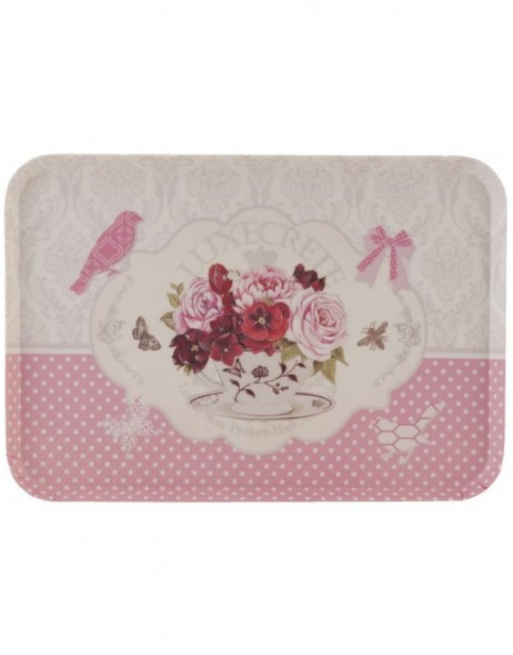 dinner tray 45x31 cm white-pink