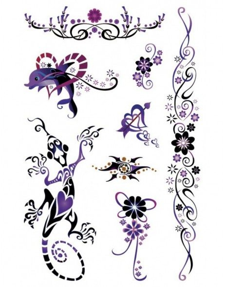 Tattoos Black Art Filigree 1 sheet