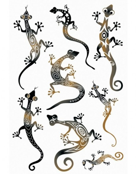 Tattoos Black Art Geckos 1Bl.