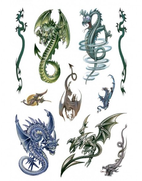 Tattoos Colour Art Dragons 1 sheet