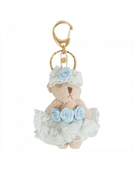 Teddy key chain 6 cm light-blue