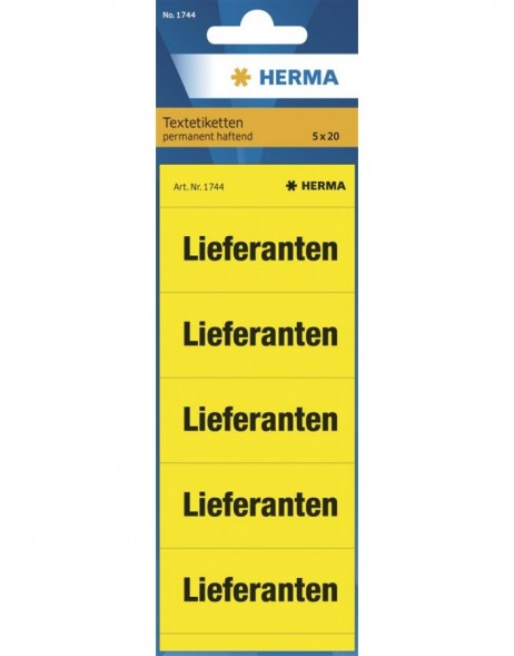 Spine text labels suppliers yellow
