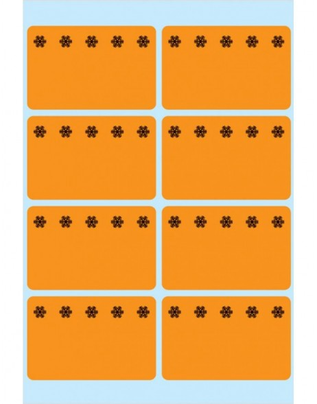 Self adhesive freezer labels - orange, 6 sheets
