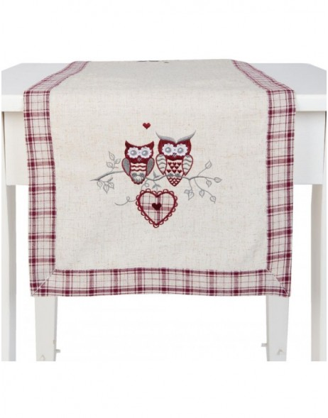 OWLS table runner beige - 40x120 cm