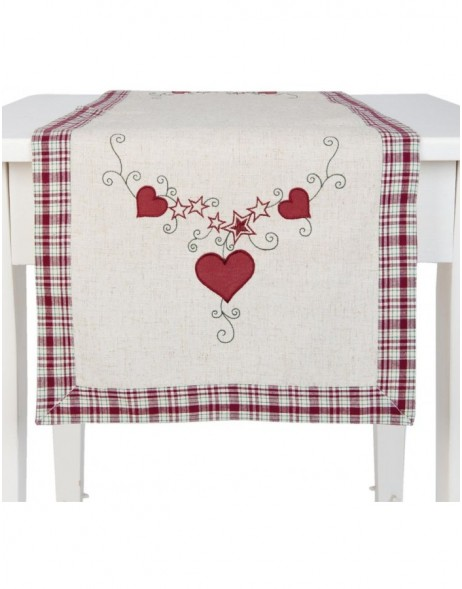 table runner Hearts  rot - 40x120 cm