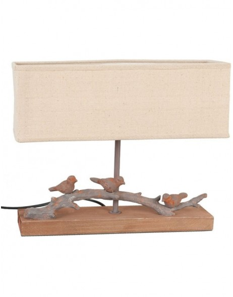 Table Lamp 6LMP123 wooden birds 33x8x28 cm