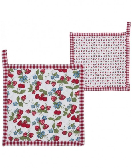pot holder 20x20 cm - Strawberries and Cherries