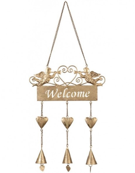 golden doorplate Welcome 17x40 cm
