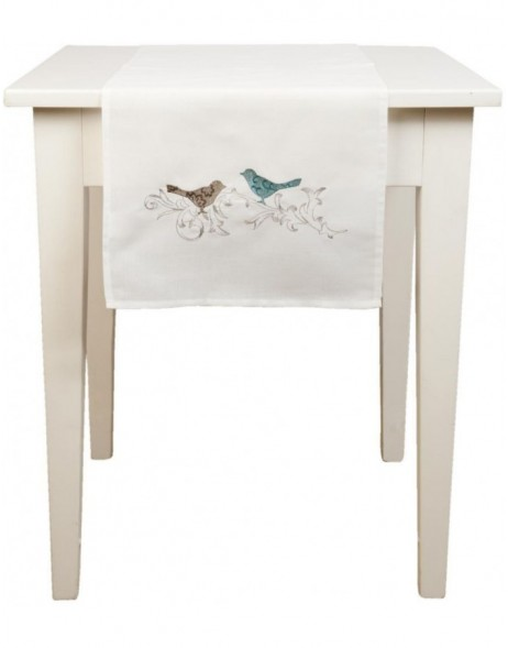 BIRDS table runner natural - 40x120 cm