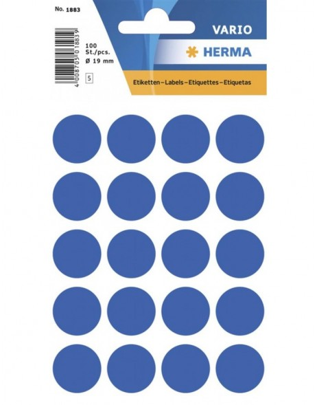 Multi-purpose labels ø 19mm dark blue 100 pcs.