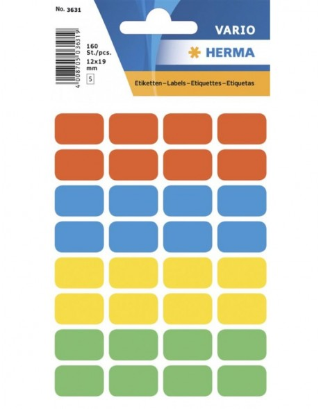 Multi-purpose labels 12x19 mm colours assorted 160 pcs.