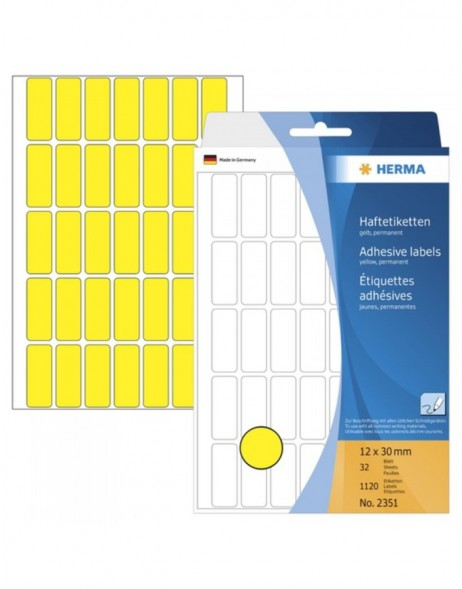 Multi-purpose labels 12x30mm yellow 1120 pcs.