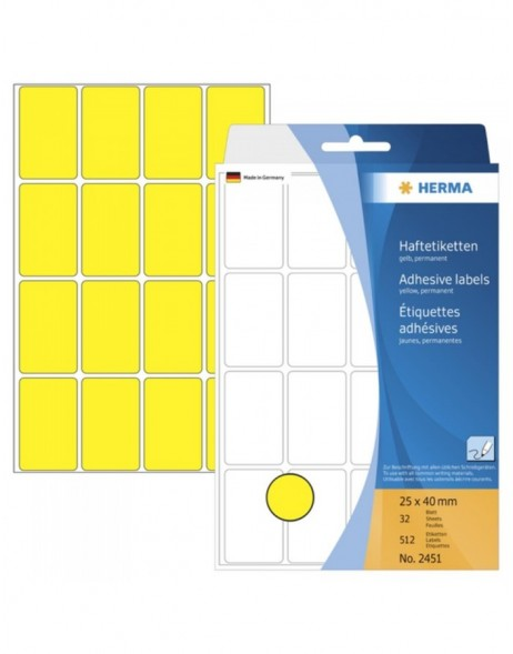 Multi-purpose labels 25x40mm yellow 512 pcs.