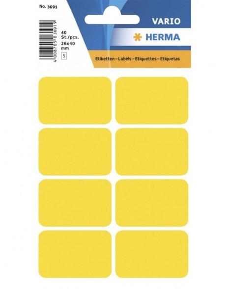 Multi-purpose labels 26x40mm yellow 40 pcs.