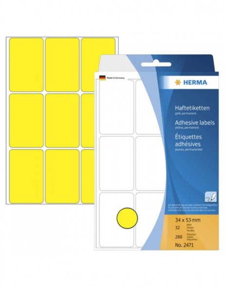 Multi-purpose labels 34x53mm yellow 288 pcs.
